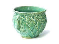 McCoy Pottery Jardiniere Planter Ribbon Bow Handles Aqua Quilted Leaf // Patio Decor Pot Large Size 1940s Maker's  Mark Signed by SueEllensFlair on Etsy