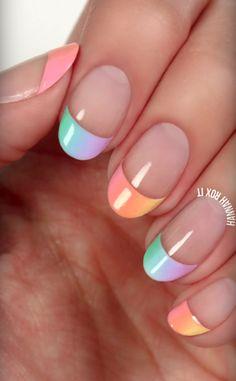 pastel French tip manicure #nailart