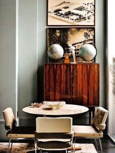 Vintage wooden sideboard blue grey wall globus atlas living room dinning room