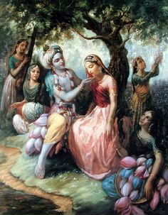 Radha and Krishna surrounded by gopis