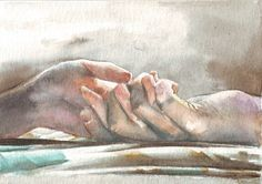 This painting of a couple holding hands, was done in #watercolor and the best possible light - what a pleasure! By Helga McLeod, https://www.etsy.com/listing/234880020/hm048-original-art-watercolor-painting?ref=shop_home_active_1