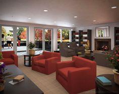 Trilogy Apartments, Boston Lounge Rendering. ::   Artist & Modeler: Cleo.    Architectural Modeler: Patrick Anderson.    Architecture & Interior Design: Elkus-Manfredi.   Developer: Samuels & Associates RE.