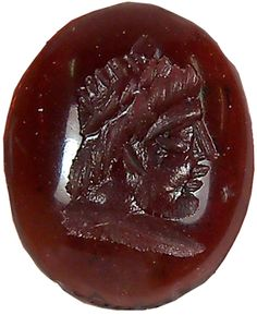 Roman Garnet Intaglio :    Ancient Roman garnet intaglio, a profile portrait of a bearded Roman God.  100 AD