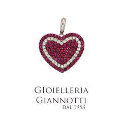 Cuore in oro Bianco con pavè di zirconi rossi e bianchi #GioielleriaGiannotti1953 #Napoli #MadeInItaly