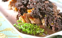 ribeye steak with morel mushroom and red wine sauce  ----  eeeek!  I LOVE morels! ... JamesAZiegler.com