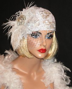 GATSBY GLAM - Romantic Roaring 20's Gatsby Gala Or Bridal Hat In White Alencon Lace, Feathers & Brooch