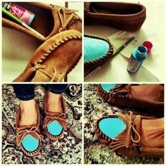 Love this! Fabric paint cheap moccasins for a pop of color.