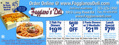 Faggiano's Deli on Long Pond rd. in Rochester, NY with cold cuts, fried fish for lent, pasta dinners, and coupons! Rochester NY Valpak Coupon