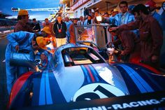 1971 24 Hrs of LeMans . . Vic Elford Martini 917LH . .  Helmut Flegl , 917 Project Manager and later Mark Donohue's prized & talented Porsche contact in developing the  Can AM Blitz . .  gazing off inn the distance