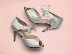 a8143322729 Nancy - Vintage Peep Toe Shoes. Bridal ShoesSatin Wedding ...