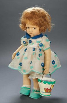 Apples - An Auction of Antique Dolls: 53 Italian Felt Character Girl,Series 300,by Lenci