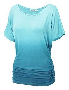 LL Womens Short Sleeve Heart Shape Tie-Dye Ombre Dolman Top * MORE INFO @ http://www.eveningdressesoutlet.com/store/ll-womens-short-sleeve-heart-shape-tie-dye-ombre-dolman-top/?b=8392