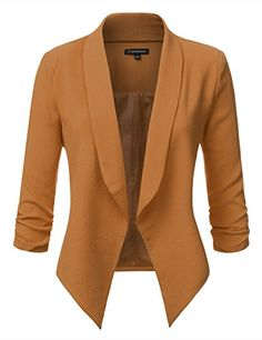 New Trending Outerwear: JJ Perfection Women's Texture Woven Thin Ruched Sleeve Open-Front Padded Blazer CAMEL XL. Special Offer: $29.99 amazon.com Women's Texture Woven Thin Ruched Sleeve Open-Front Padded Blazer was crafted from lightweight and silky soft fabric, the open-front blazer features long sleeves with a ruched elasticized band at the sleeve hem, a classic notched collar and uneven...