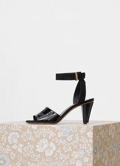 Céline Stitch Sandal in Patent and Suede Kidskin.