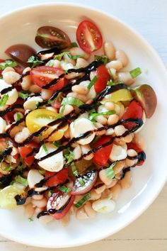 Nothing says summer like a Caprese salad, and this one is made with white beans for added protein and fiber. It's EASY to make, and there's no cooking required