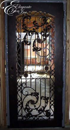 Custom wrought iron door. Decor, Doors, Single Doors, Screen Door, Wrought Iron Doors, House, Lamp Post, Home Entrance Decor, Iron Doors