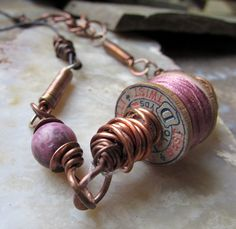 Blooming Lilacs - Vintage Thread Spool Necklace with Sugilite, Copper and Leather by Chilirose on Etsy