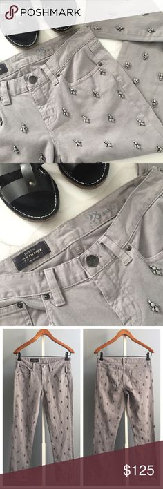 """J. Crew beaded toothpick Jean NWOT Such a stunner!!! These jeans are amazing in person and they are sold out!! Brand new but without tags and has no missing stones. Measurement (laying flat):  🔸waist- 15"""" 🔸inseam- 28"""" J. Crew Jeans"""