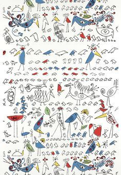 Saul Steinberg 'Aviary' in multicolour sold through Schumacher USA #Steinberg #wallpaper #inspiration