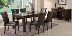 Laurence 7 Piece Dining Set - real marble | Wayfair