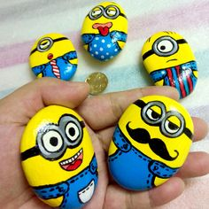 New Hand Painted Creative Folk Art Stone Despicable Me For Gifts Collection