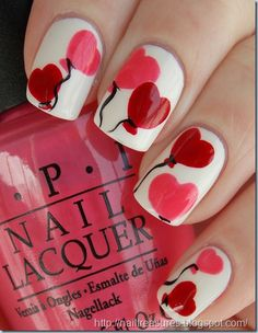 Valentine's nail art: four color colour design: white base with pink and red heart-shaped balloons with a black string #spring #romance #romantic #love