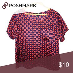 forever 21 shirt Red and navy blue scoop neck shirt Tops Blouses