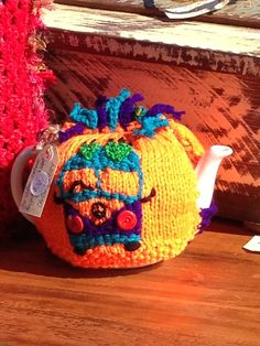 Combi tea cosy by Deborah Sykes visit the valley treehouse Facebook page for more inspiration Tea Cosy Pattern, Knitted Tea Cosies, Tea Cozy, Best Tea, Cozies, Treehouse, Teapots, Vw, Facebook