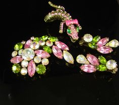 Vintage stunning signed Weiss Brooch earrings & by vintagesparkles