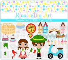 Cute Clip Art Dolls - Dolls of the world - Italy Italian Culture- Digital Clip Art - Personal and Small Commercial Use