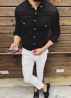 9eb976fb Men's black button down shirt with white pants and black shoes.  #mensfashion #menswear