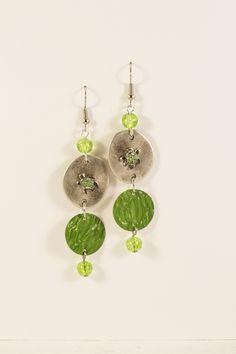 Boucles d'oreilles pendantes Nespresso légères en métal argenté et aluminium - Vert - Tortues Strass : Boucles d'oreille par cap-and-pap