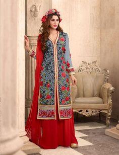 Grey & Red Poly Georgette Designer Salwar Kameez $44.24 For order whtsap at 9582233490 #grey #red #polygeorgette #designer #indian #wedding #partywear #onlineshopping #fashionumang
