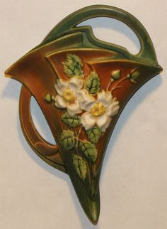 Roseville Pottery White Rose Brown and Green Wall Pocket 1289-8 from Just Art Pottery
