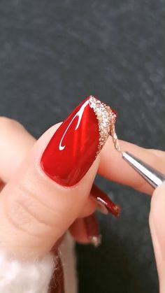 This nail design is so glamorously elegant! This nail design is so glamorously elegant! Nail Art Designs Videos, Red Nail Designs, Nail Art Videos, Acrylic Nail Designs, Elegant Nail Designs, Nail Design Glitter, Nails Design With Rhinestones, Bright Summer Acrylic Nails, Best Acrylic Nails