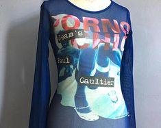 Jean Paul Gaultier sheer mesh tank top Indian vintage Gaultier sleeveless top  Gaultier Soleil transparent top Tribal mesh shirt vtg JPG 58fef2971