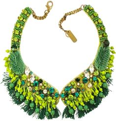 Radà Green Crystal and Bead Fringed Necklace
