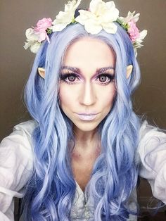 Elven Princess Makeup! #elf #elvenprincess #princess #makeup #fairy #faerie #magic #bluehair #purplehair #grayhair #flowercrown #elfears