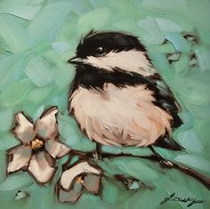 """5x5"""" Print of original oil painting of Chickadee on a branch with flowers by Andrea Lavery, bird art print, chickadee art print by LaveryART on Etsy"""