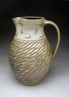 *Ceramic Salt Glazed Pitcher with Scrafitto Design by Jeff Brown