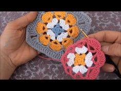 Crochet Flower Squares, Crochet Motifs, Form Crochet, Crochet Granny, Crochet Flowers, Crochet Patterns, Crochet Hats, Knitting Videos, Crochet Videos