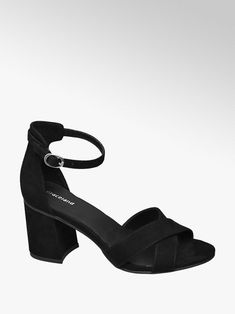 czarne sandaki Graceland na blokowym obcasie i zapinane na paseczek - 12402009 - deichmann.com Graceland, Fashion Boots, Peep Toe, Sandals, Heels, Accessories, Heel, Shoes Sandals, High Heel