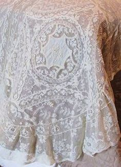 Stunning Antique French Normandy Lace Coverlet Bedspread c1900 Lavish Amazing L   eBay