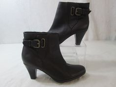 St Johns Bay Women's Brown Leather Side Zipper Buckle Ankle Boots Size 6.5M   | eBay