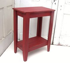 Entryway Table Wood Storage Table Wooden Console Table Red Sofa Table Painted Furniture Cottage French Country on Etsy, $150.00