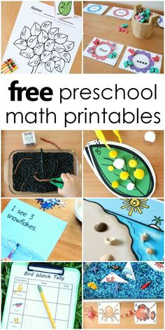 free preschool and kindergarten math printables with activities for counting, measurement, addition and more. #mathfun #Kindergartenmath #freeprintable