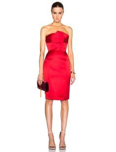 Roland Mouret Esther Satin Faille Dress in Poppy Red | FWRD