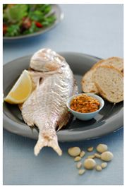 Snapper with macadamia and pine nuts  - YUM!
