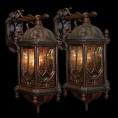 Pair of rare antique 19th C. French cast iron gothic sconces. Multiples available.
