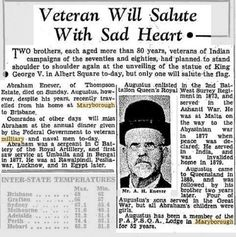 Veteran Will Salute With Sad Hearts - The Courier-Mail (Brisbane, Qld. : 1933 - - 24 May 1938 Saluting The Flag, Sad Heart, Two Brothers, Military Personnel, King George, How To Plan, Military Men, Military